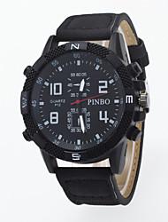 Men's Circular Dial Watch Case False Eyes 4 Digital Table Disk Cortex Canvas Strap Geneva Quartz Watch
