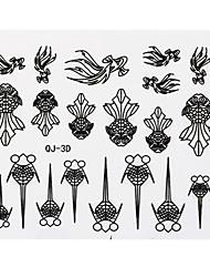черный золотая рыбка наклейки 3d ногтей