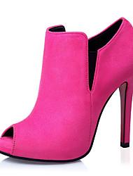 Women's Shoes Fleece Chunky Heel Heels Heels Casual Black / Green / Pink / Red / Gray / Khaki