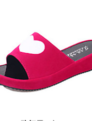 Women's Shoes PU Flat Heel Slippers Sandals / Slippers Outdoor / Dress / Casual Black / Red / White