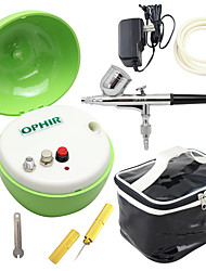 OPHIR New Green Air Compressor with Dual Action Airbrush Kit & Airbrush Bag for Body Painting Cake Decoration
