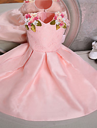 Ball Gown Knee-length Flower Girl Dress-Lace / Satin Sleeveless
