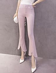 Femme Boot Cut Jeans Pantalon,Vintage Décontracté / Quotidien Couleur Pleine Taille Haute Bouton Coton Micro-élastique Eté