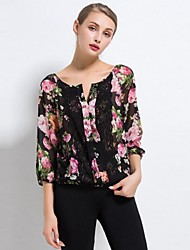 Women's Work Boho Summer Blouse,Patchwork V Neck ¾ Sleeve Black Cotton Thin