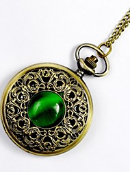 Classic Green Cat Large Palace Carved Hollow Flip Pocket Watch Pocket Watch