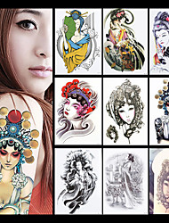 8PCS Phoenix Female Role in Chinese Opera Flower Sleeve Tatoo Women Men Body Art Temporary Tattoo Sticker Paper