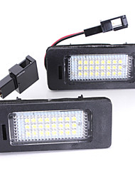 2PCS 2008-2013 Year Au-di A4 A5 Q5 S5 TT LED License Plate Lamp 14W 3528SMD LED with Special LED Decorder