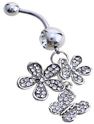 Femme Navel & Bell Button Rings Argent sterling / Zircon / Gemme Blanc Bijoux,1pc