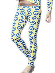 men long johns men's bodysuit pants mens  blue print  tight leggings pants N500116