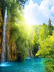 "(9'8 ""x 8'2""ft) The Morning Sun Large Mural Background Mural Wallpaper 3d Waterfall Scenic Lake Resort"