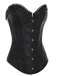 Full Steel Boned Black Lace Up Corset Women's Costume