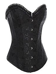 Acero completa deshuesada Negro / blanco con cordones del traje del corsé de la Mujer