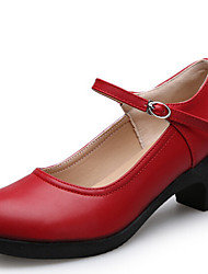 Women's Dance Shoes Heels Breathable Leather Cuban Heel Black/Red/Silver