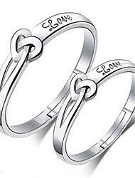 2pcs Sterling Silver Ring Love Couple Rings Adjustable Fashion Jewelry for Couple Wedding Engagement Ring