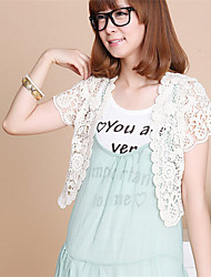 Women's Casual/Daily Sexy / Street chic Summer Blouse,Solid Asymmetrical Short Sleeve White Polyester / Nylon Translucent