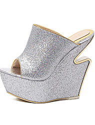Women's Shoes Glitter Wedge Heel Wedges / Platform / Open Toe Sandals Wedding / Office & Career /  DressSilver / Gray /