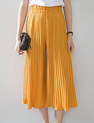 Women's Solid Black / Yellow Wide Leg Pants,Vintage / Simple