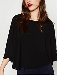 Women's Casual/Daily Street chic Summer Blouse,Solid Round Neck ¾ Sleeve White / Black Polyester Medium