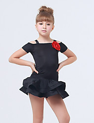 Kids' Dancewear Dresses Children's Performance Spandex Polyester Ruffles Tiers 1 Piece Short Sleeve Dress