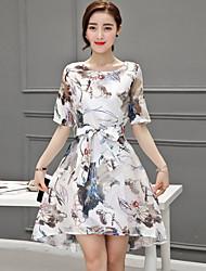 Women's Simple Sheath Dress,Print Round Neck Knee-length ½ Length Sleeve Blue / Yellow Polyester Summer