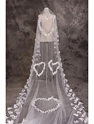 Wedding Veil One-tier Cathedral Veils Cut Edge Tulle White / Red