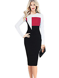 Aier Women's Patchwork / Color Block Blue / Red Dresses , Bodycon / Party Round Long Sleeve