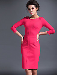 Baoyan® Femme Col Arrondi Manches 3/4 Au dessus des genoux Robes-14650