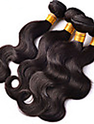 "4Pcs/Lot 8""-26"" Unprocessed Brazilian Virgin Hair Natural Black Body Wave Human Hair Weave Full Bundles"