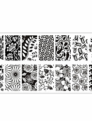 Flower Theme Nail Art Stamp Template Image Plate Rctangular Stamping PLates BORN PRETTY
