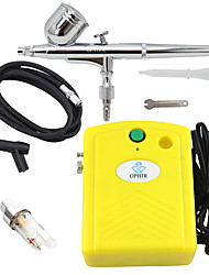 OPHIR Airbrush Kit with Yellow Mini Air Compressor Filter for Temporary Tattoo Body Nail Paint