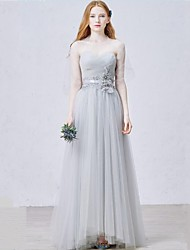 Formal Evening Dress-Silver Sheath/Column Sweetheart Floor-length Tulle