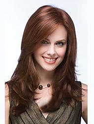 longue perruque de cheveux synthétiques vague de corps côté bang résistant à la chaleur brun miel