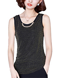 Summer Plus Size Women's Fashion Decorative Chain Round Neck Slim Vest Joker Casual Sleeveless Tops