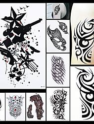 8pcs peinture design temporaire tatouage femmes hommes crâne d'art de corps d'outil de liaison de bord scratch dessin papier autocollant