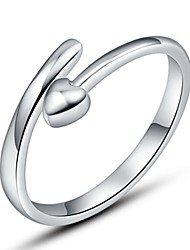 Sterling Silver Ring Heart Love Silver Plated Ring Adjustable Fashion Jewelry for Women Wedding Engagement Ring