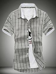 Men's Plaids Casual Shirt,Cotton Short Sleeve
