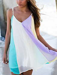 Women's Bandeau One-pieces / Cover-Ups,Color Block One-Pieces Chiffon Purple