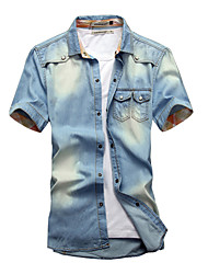 Men's Fashion Solid Slim Fit Short Sleeve Denim Shirt, Cotton / Polyester/ Casual / Plus Sizes