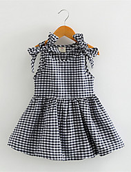 Girls Fashion Dresses 1-4Yrs Baby Girls Dress New 2016 Spring Short Sleeve Plaid Kids Clothes Black White Grid