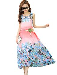 2016 Summer New Bohemian Beach Chiffon Flower Print Dress