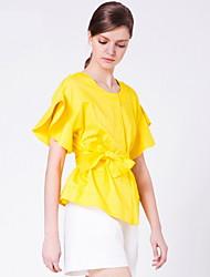 Goelia® Women's Round Neck Short Sleeve Bow Belt Ruffle Shirt/Blouse(yellow)-164W3B080