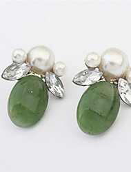 Double Rhinestone Leaf Simulated Pearl Ear Studs Colorful Earrings For Elegant Women