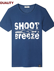 Trenduality® Hombre Escote Redondo Manga Corta Camiseta Azul-43148