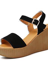 Women's Summer Wedges / Peep Toe / Platform Leather Outdoor / Office & Career / Casual Wedge Heel Buckle Black / Red