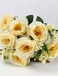 A Buach of  High Quality  Simulation Flower Flower Kit Simulation Artificial Flower for Wedding (Yellow)