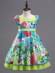 Girl's Green Dress,Print Cotton Summer