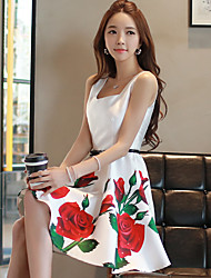 DABUWAWA® Women's Floral Printed Square Neck Sleeveless A-line Dress(white)-D15BDR240