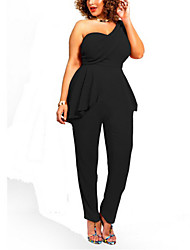 Women's Solid Black Jumpsuits,Casual / Day One Shoulder Sleeveless