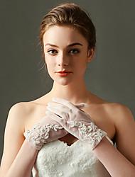 Elbow Length Fingertips Glove Nylon / Elastic Satin Bridal Gloves / Party/ Evening Gloves Spring / Summer / Fall / Winter Ivory Beading