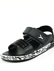 Women's Spring / Summer Gladiator Leather Casual Flat Heel Black / White